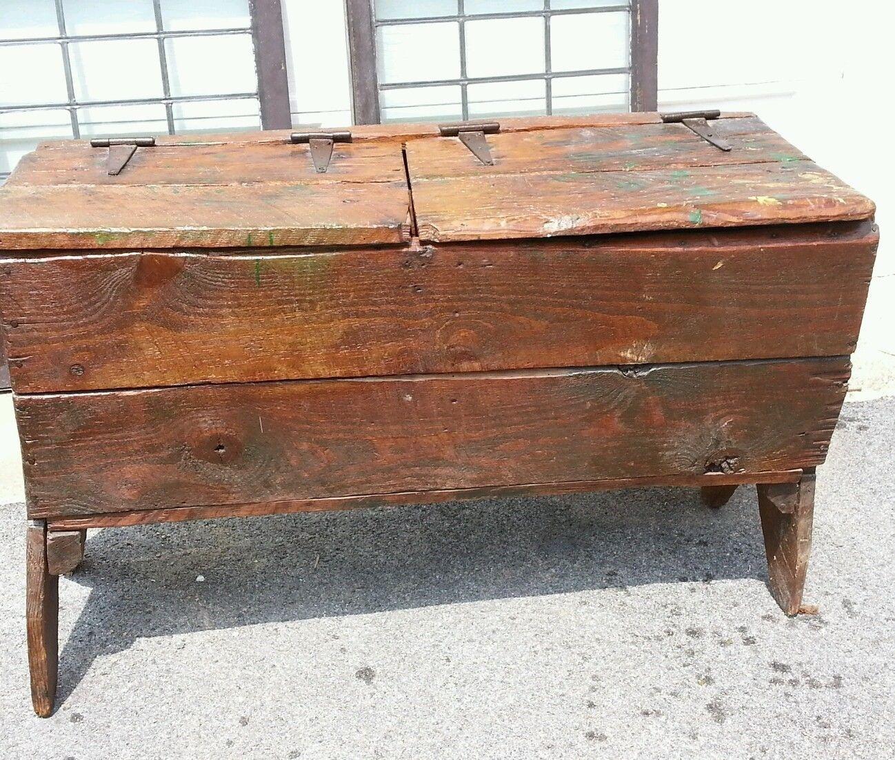 Antique Primitive Oak Grain Bin Sugar Chest Mudroom Storage Bench 45  5