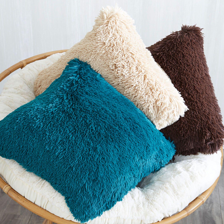 Oversized Shaggy Pillow Tan | Ivory