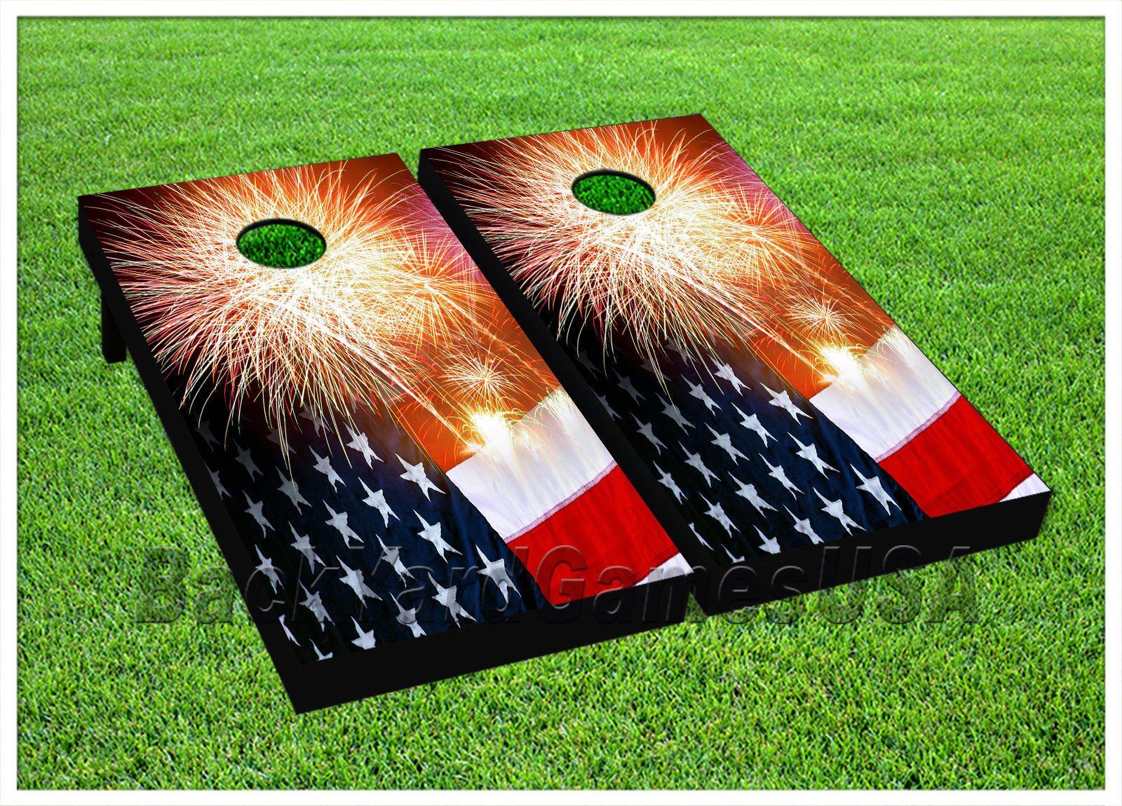 LAMINATED American Flag Vintage look Cornhole Board Skin Wrap Decal Set Vinyl