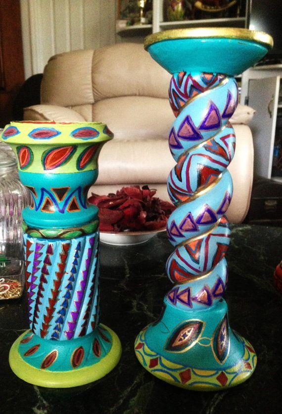 "Hand Painted Bohemian Ceramic Decorative Set of Candle Holders 4.5""Wx12""Hx4.5""D, 4.5""Wx9.5""Hx4.5""D  C0026"