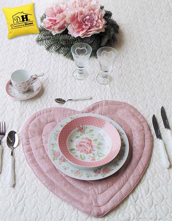 Sottopiatto imbottito rosa cipria lurex by Angelica Home & Country