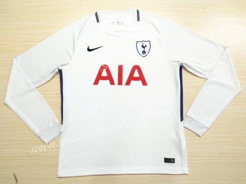 cd3867697 2017-18 Tottenham Hotspur Home White LS Thailand Soccer Jersey AAA ...