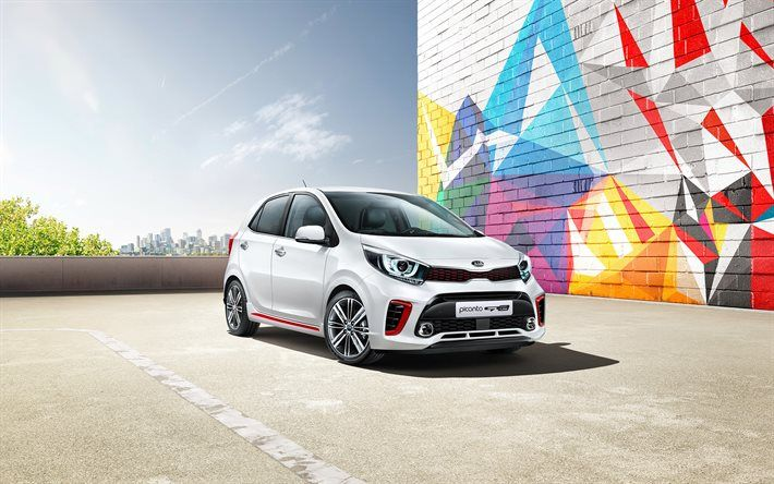 Download Wallpapers Kia Picanto Gt Line 2017 New Cars White