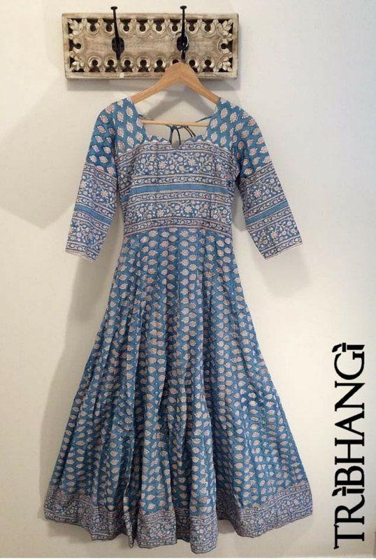 Blue Jaipur block print cotton Anokhi style anarkali by Tribhangi ...