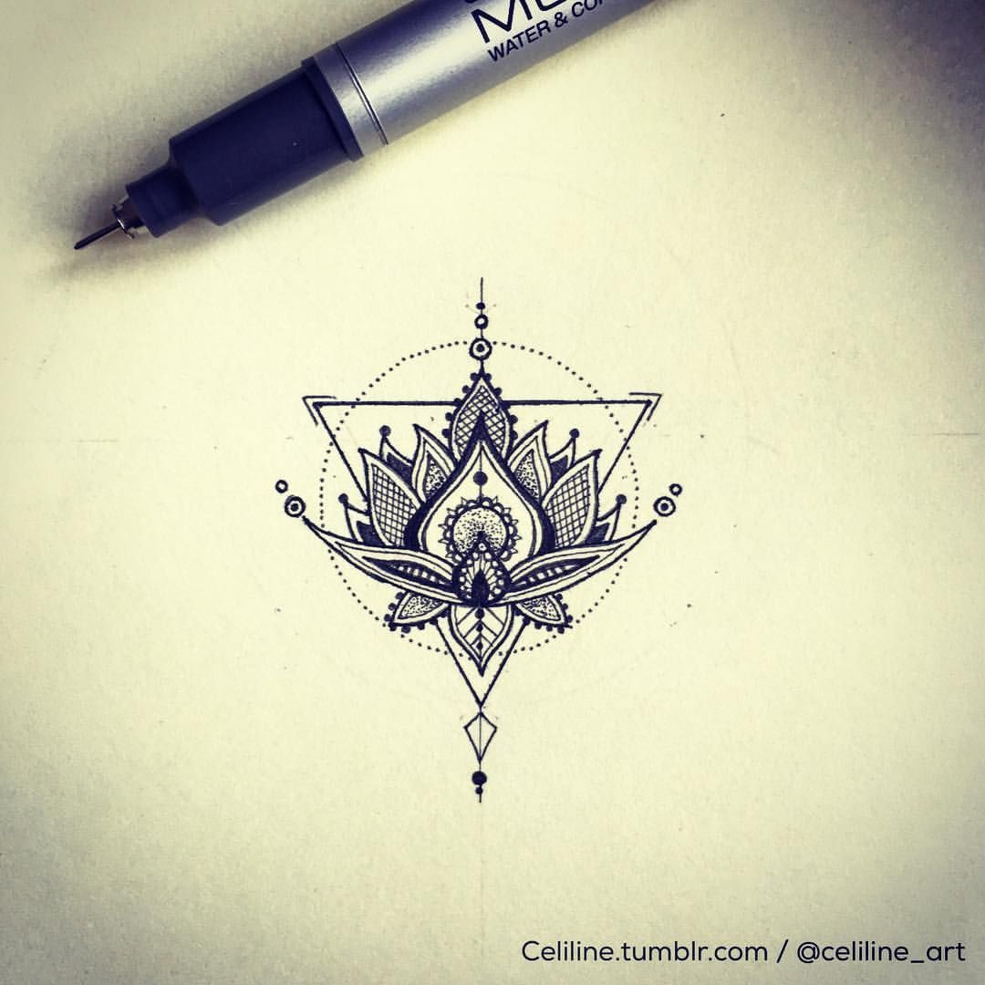 Draw Something Lotus Flower Tattoo Design and Idea Geometric
