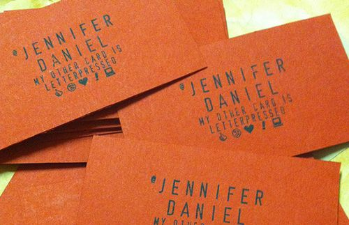 Hand stamped business cards by Jennifer Daniel
