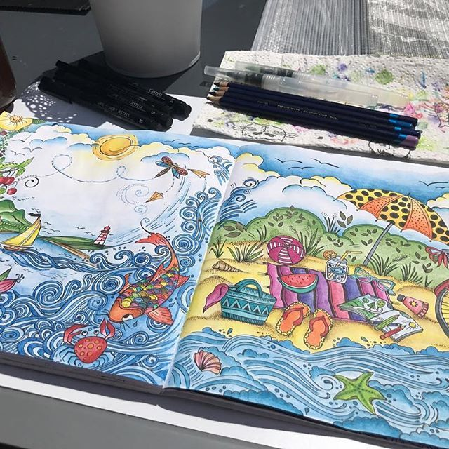 Coloring In The Sun Ritaberman Watercolorpencils Pencil Meinsommerspaziergang Inktense Derwent Coloring Pencildra Wenn Du Mal Buch Beautiful Sommer