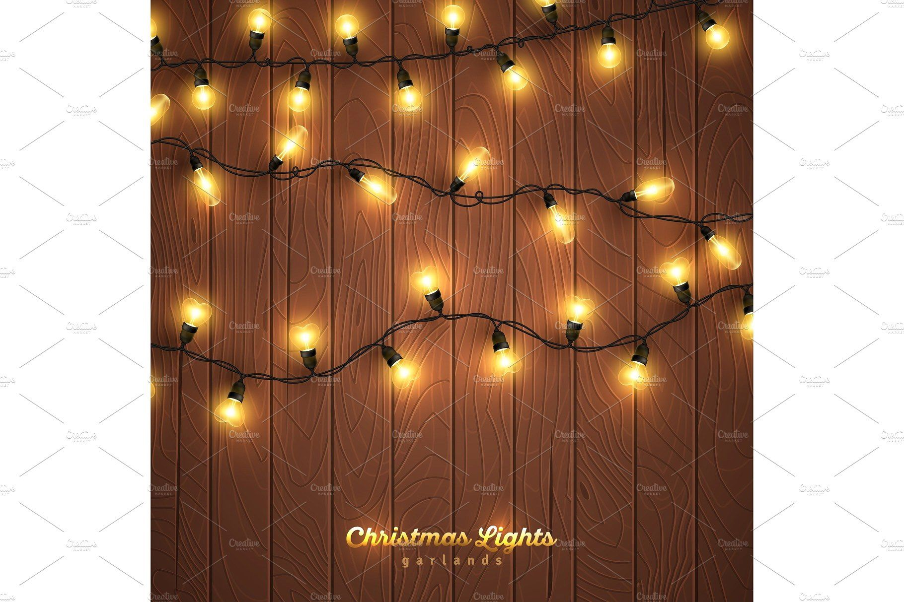 Yellow Christmas Lights On Wooden Background Yellow Christmas Lights Christmas Lights Wooden Background