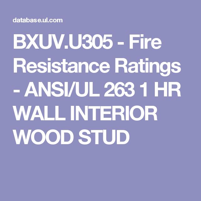 Bxuv U305 Fire Resistance Ratings Ansi Ul 263 1 Hr Wall Interior Wood Stud Wood Studs Online Coding Wood