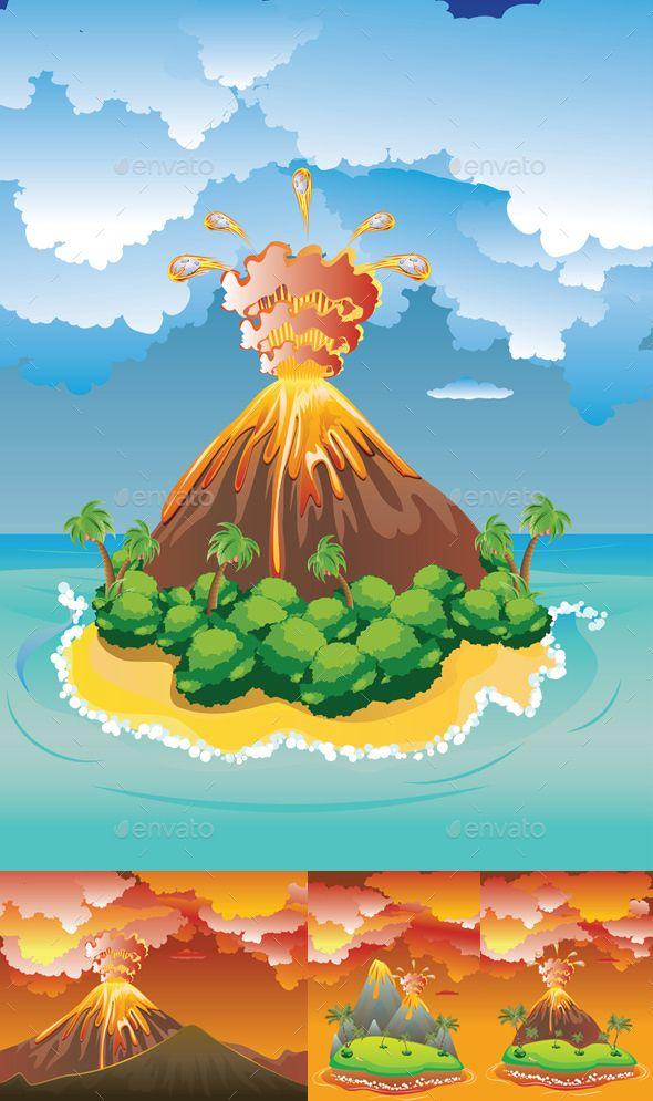 Cartoon Volcano Eruption Volcano Drawing Volcano Cartoon Dino Drawing