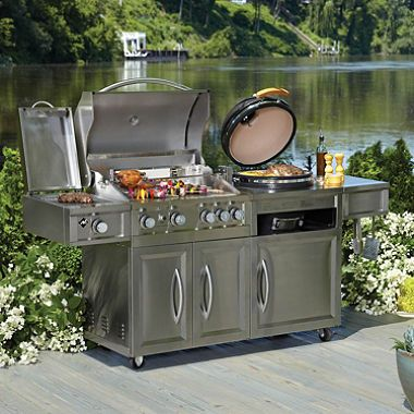 799 91 Member S Mark Gas Kamado Combo Grill Outdoor Kitchen Decor Outdoor Kitchen Fire Pit Grill