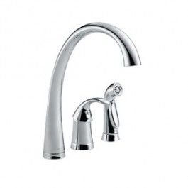 Delta 4380 Kitchen Faucet, 1.8 Gpm, 6 Inch Center, 10 1/2 Inch Reach X  9 3/4 Inch Height Swivel Spout, Ceramic Disc Cartridge, 1 Lever Handle