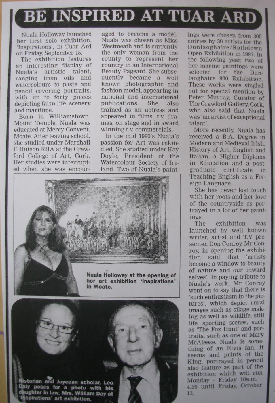 "FROM THE ARCHIVES: Regional coverage in the Westmeath Topic of Nuala's ""Inspirations"" exhibition at Tuar Ard, Moate, Co. Westmeath in September 2006. The exhibition was launched by local historian Vera Hughes and artist and writer Don Conroy. #Artist #IrishArt #NualaHolloway"