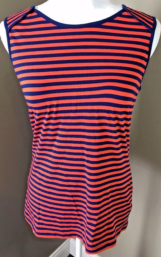 84710e25677 Banana Republic Sleeveless Top Size MEDIUM Blue Orange Striped Tank Cami M  NWT #BananaRepublic #TankCami #Casual