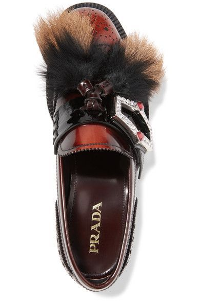 Shearling And Goat Hair-trimmed Burnished-leather Brogues - Brown Prada ZJfmsilpi