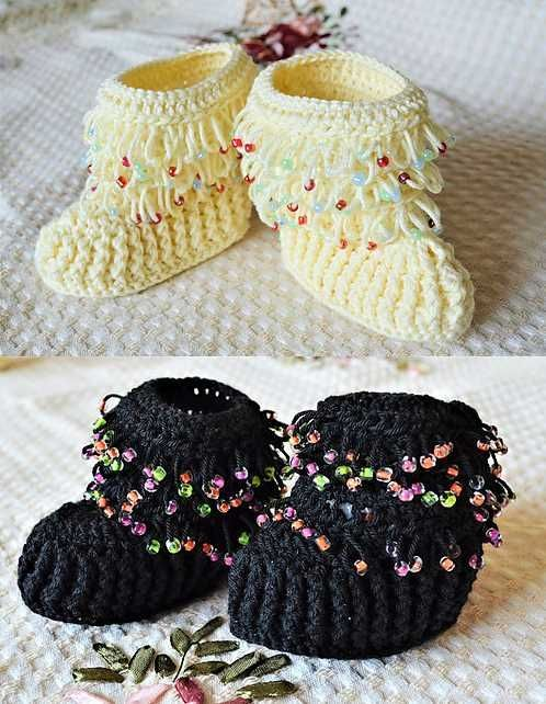 Free Crochet Pattern For Beaded Baby Booties Stitches Pinterest
