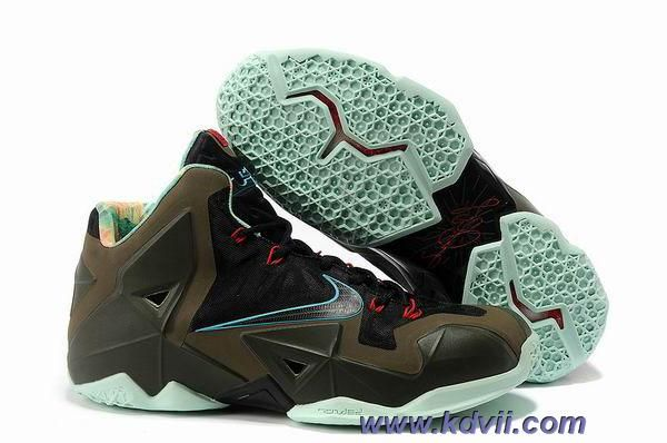 Discounts 616175-700 Nike LeBron 11 Armory Slate Black/Metallic Pine Green- Glow
