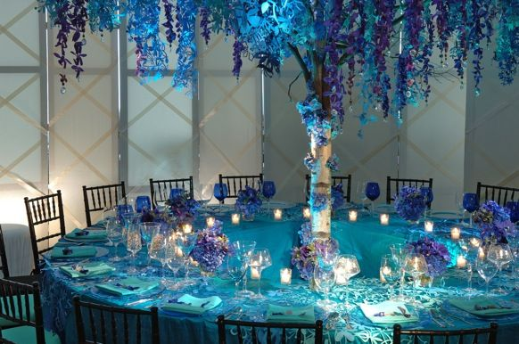 blue and green table decorations | ake a step into his world of ...