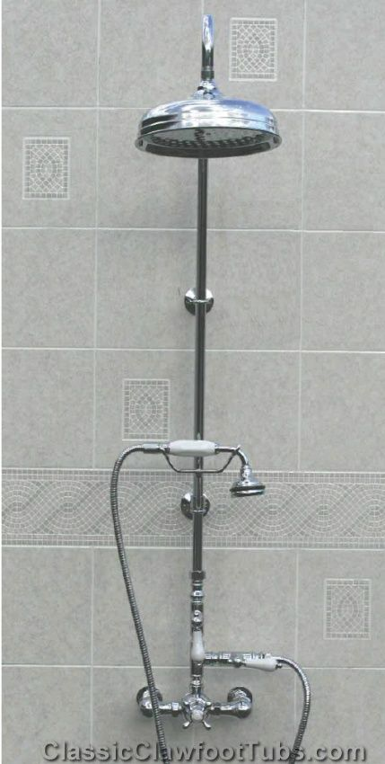Re:pin BKLYN Contessa :: Shower Riser + Clawfoot Tub Faucet Combination Kit  In Chrome | Design Details // Info | Pinterest | Clawfoot Tub Faucet, ...