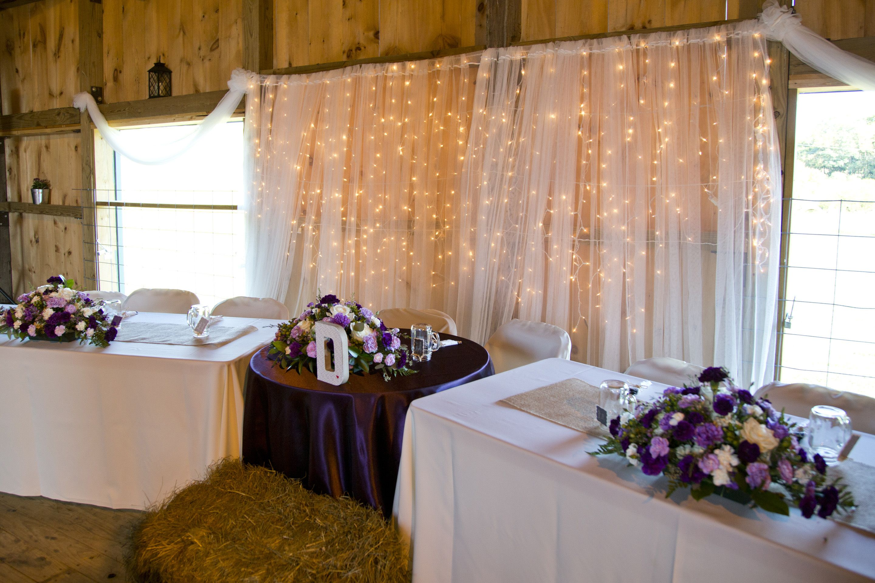 Our Pinterest inspired wedding. Bridal party head table with lights and fabric backdrop. Photo courtesy of Stephanie Leigh Photography.