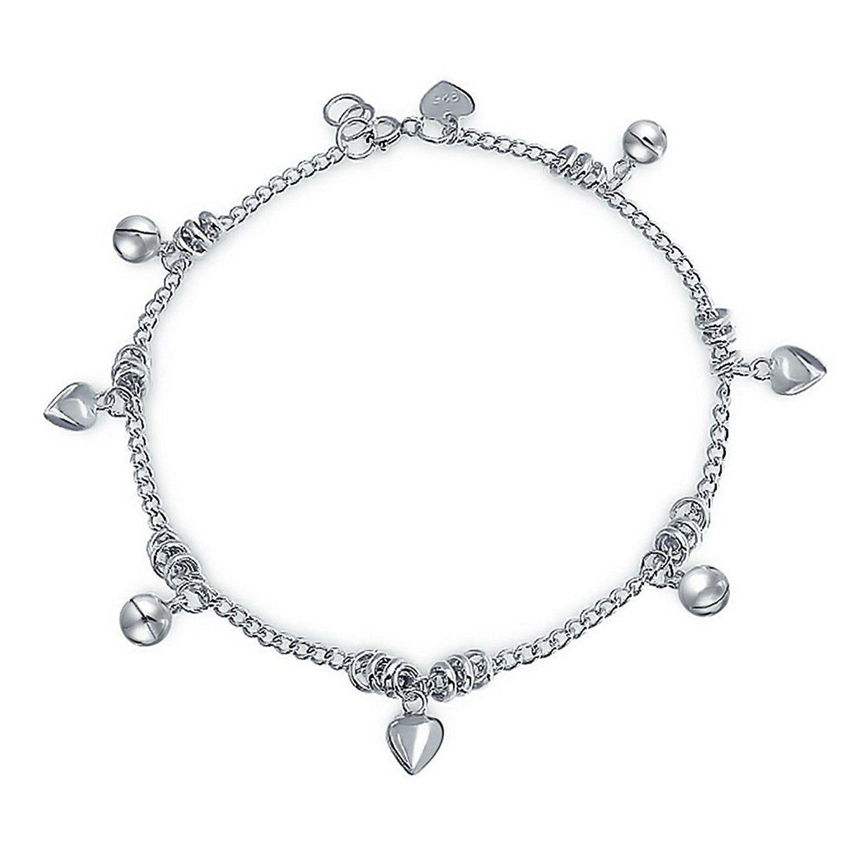 .925 Sterling Silver Multi Circle Link Anklet