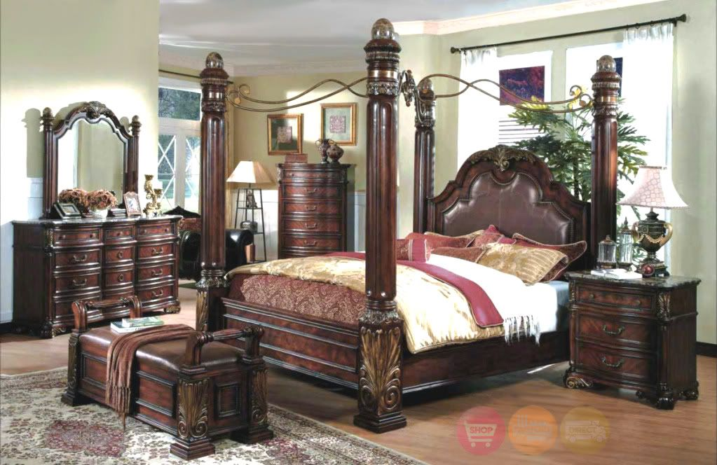 King poster canopy bed marble top 5 piece bedroom set for Bed and bedroom furniture sets