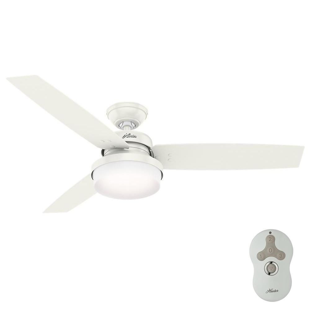 Hunter Sentinel 52 In Led Indoor Fresh White Ceiling Fan With Light Kit And Universal Remote 59169 The Home Depot Ceiling Fan With Light Ceiling Fan Fan Light