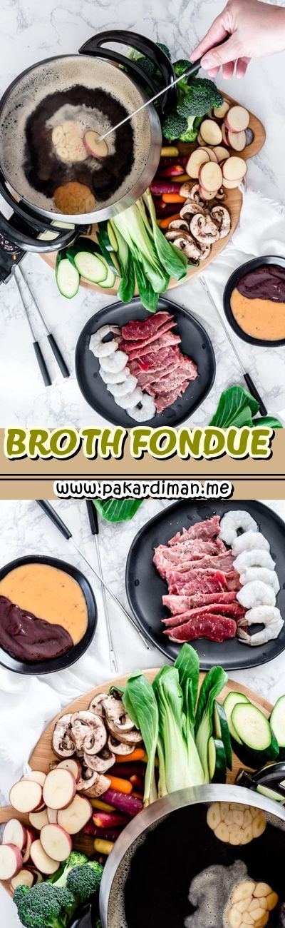 BROTH FONDUE Traditionally fondue is cheese  however it surely has advanced into different dishes that consist of dippers dipped right into a communal pot. Today we're doing a major dish fondue  mostly referred to as fondue bourguignonne. This dish includes a hot oil or broth and also you dip thin slices of meat or veggies.  Ingredients Broth Fondue  32 oz red meat broth  1 head garlic sliced in half  1/2 cup water  1 tbsp soy sauce  1 bay leaf  1 tsp flooring black pepper  Dippers  1 lb thinly  #brothfonduerecipes
