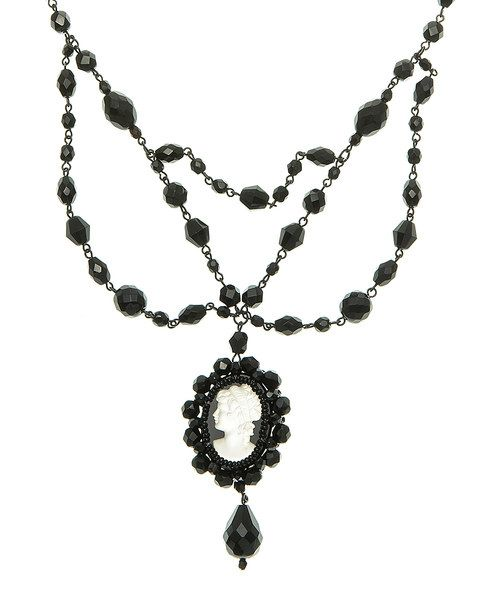 Look at this Hermatite & Jet Czech Crystal Layered Pendant Necklace on #zulily today!