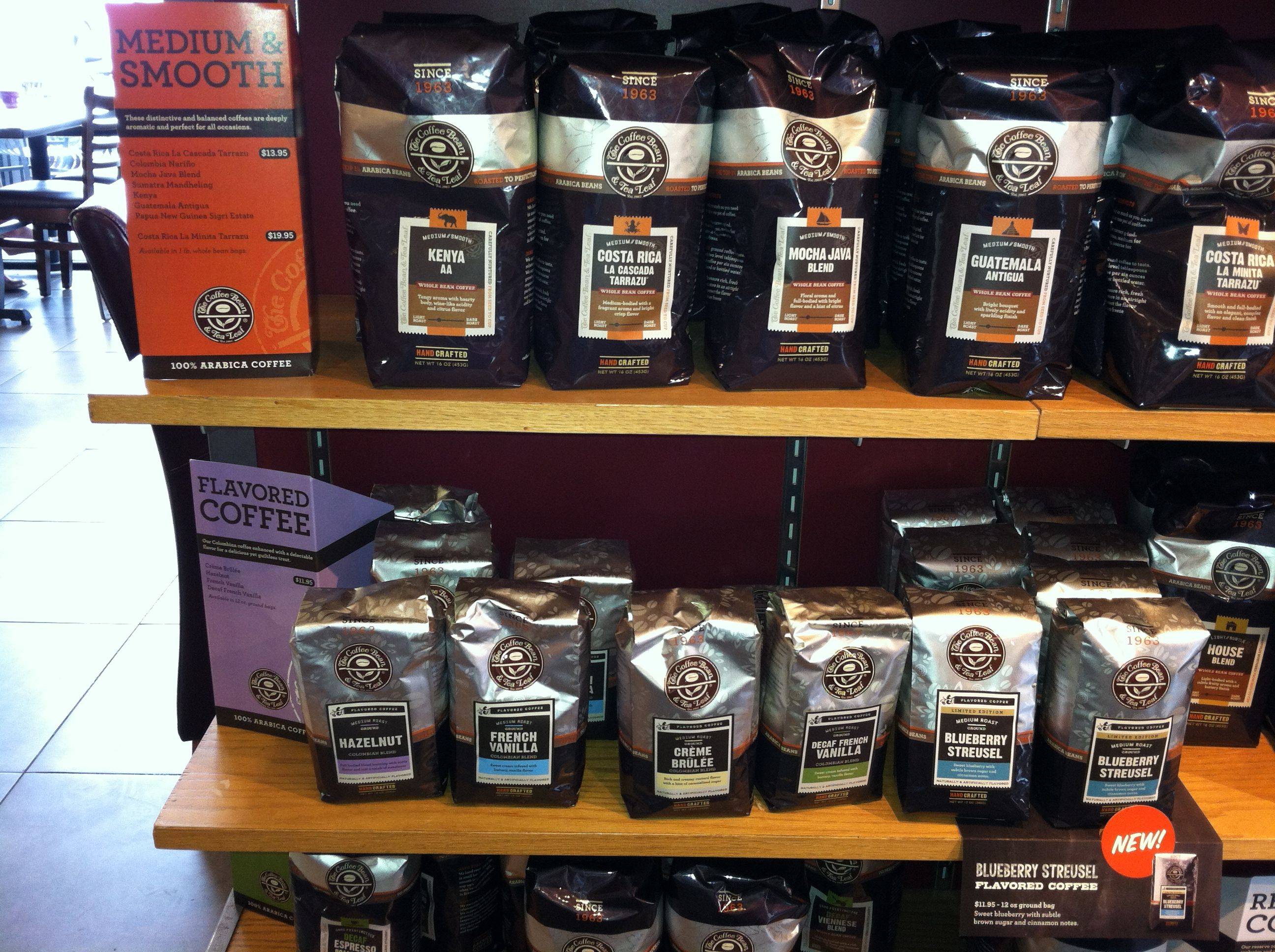 Coffee Bean & Tea Leaf packaging display Restaurant