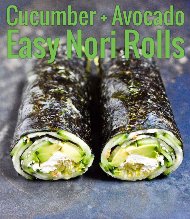 These Quick Nori Rolls with Cucumber and Avocado from Chocolate and Zucchini are endlessly adaptable, and super handy for lunch or dinner!