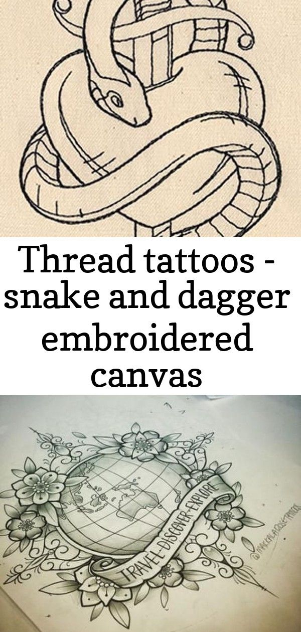 Thread tattoos – snake and dagger embroidered canvas messenger bag