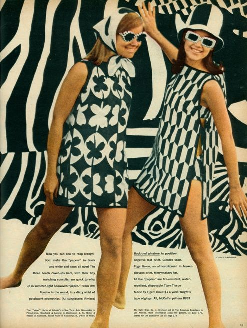 Black White Paper Dresses 1967 Paint It Black And White