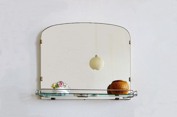 Vintage Large Frameless Wall Mirror with Glass Shelf ...