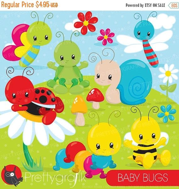 80% OFF SALE Baby Bug clipart commercial use, bugs vector graphics, bee, ladybug digital clip art, digital images  - CL839 by Prettygrafikdesign on Etsy https://www.etsy.com/uk/listing/230266480/80-off-sale-baby-bug-clipart-commercial