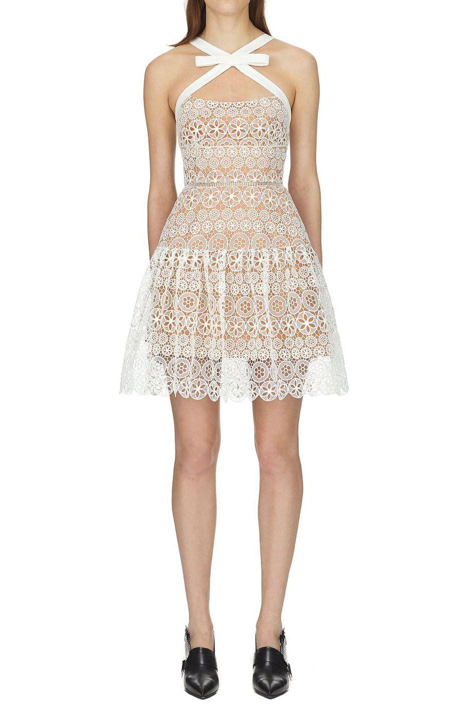 1c8d0352099c8 Self Portrait White Circle Floral Lace Mini Dress | Clothes | Floral ...
