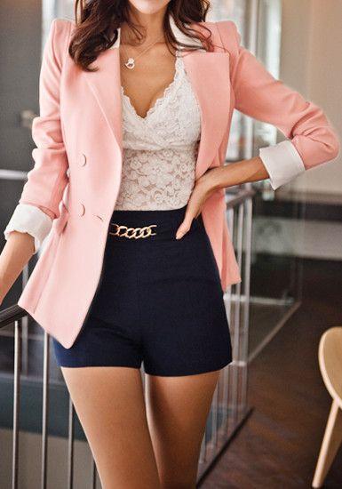 59147f8cbfd851 Shrug Drape Hem Blazer - Pink white lace top Navy blue bottoms Cute silver  chain belt Fashion