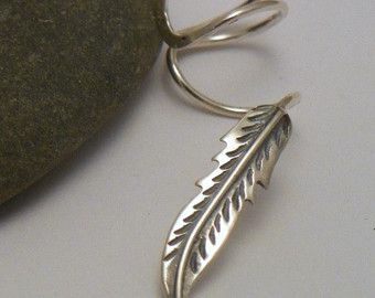 Sterling Silver   FEATHER Ear Cuff  -  925 Silver Ear Wrap