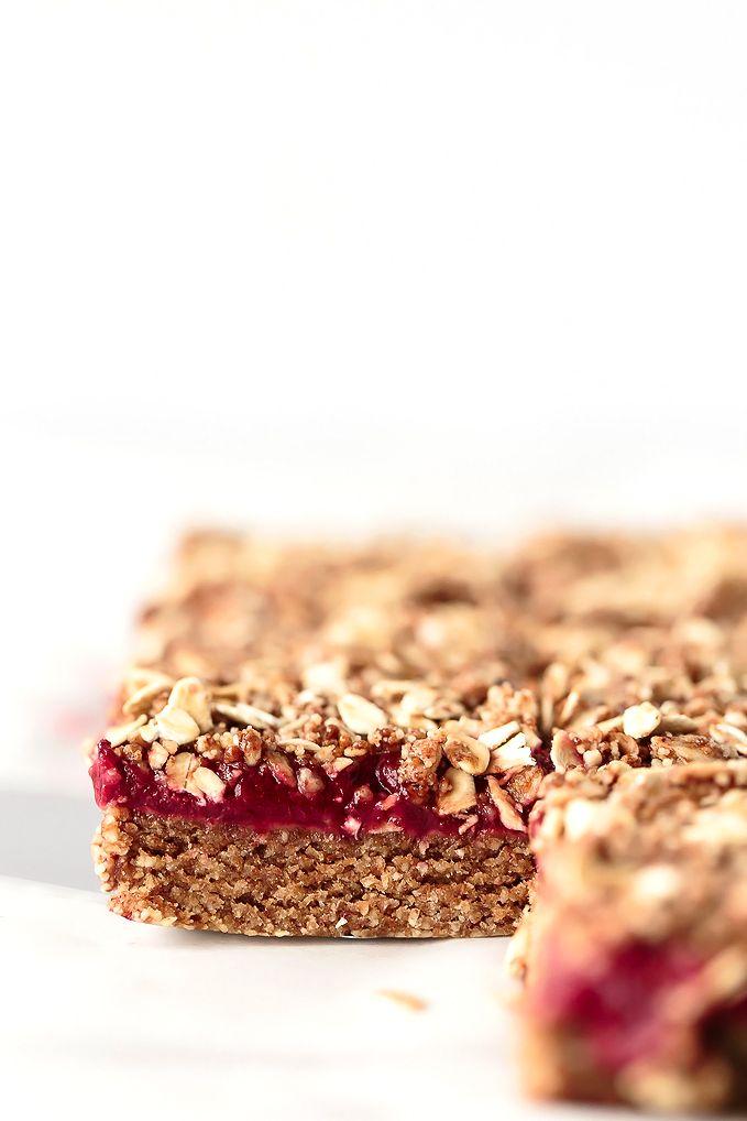 No-Bake Almond Butter & Strawberry Jam Breakfast Bars   Vegan, Gluten-Free, Refined-Sugar-Free