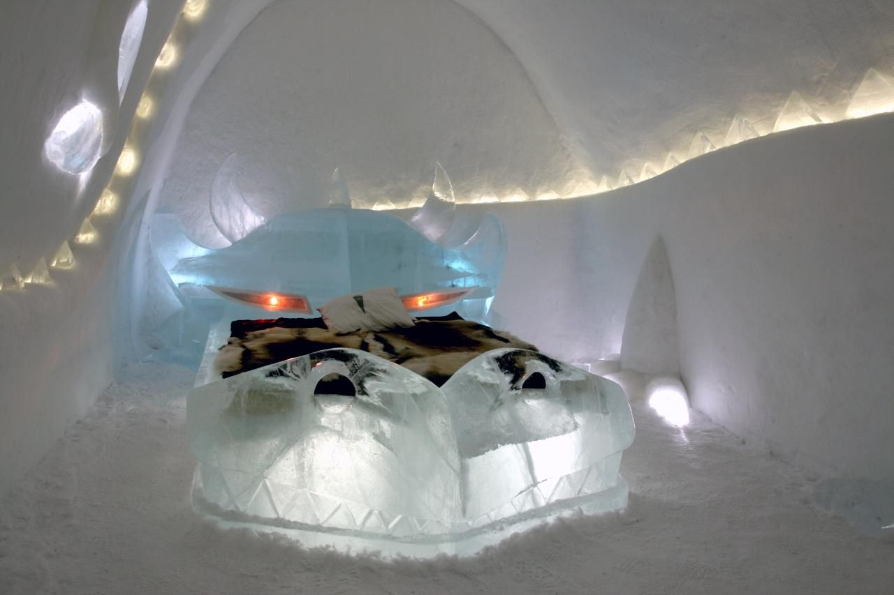 Accommodations inside the Icehotel are, well ... chilly. Regardless of the temperature outside, the air in the Icehotel is always between 17 and 23 degrees Fahrenheit. Bedrooms have blocks of ice as beds, covered with fur, skin, hides and sleeping bags.