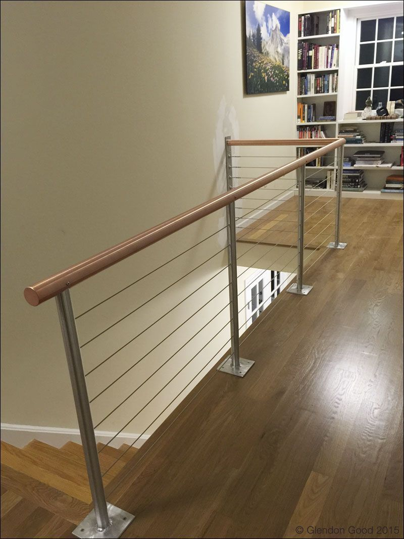 Best Custom Made Copper Handrail With Stainless Steel Cables With Images Stainless Steel 640 x 480