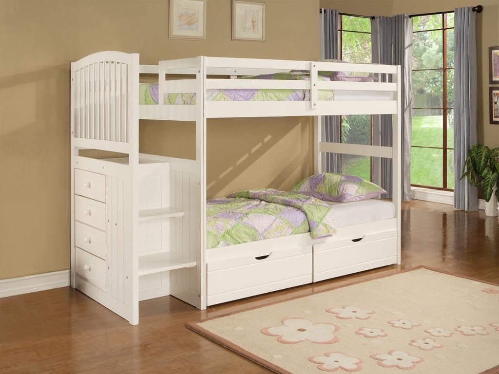 Small bedroom loft bed ideas  Kids Room Designs Cute white Fermoy twin bunk beds with underbed