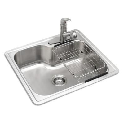 Glacier Bay All In One Drop In Stainless Steel 25 In 3 Hole Single Bowl Kitchen Sink Vt2522f1 Single Basin Kitchen Sink Single Bowl Kitchen Sink Sink