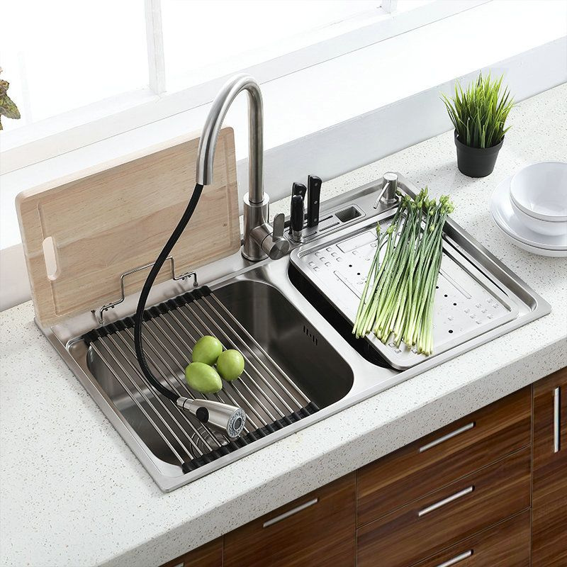 Over Mount Double Sink Modern 304 Stainless Steel Kitchen ...