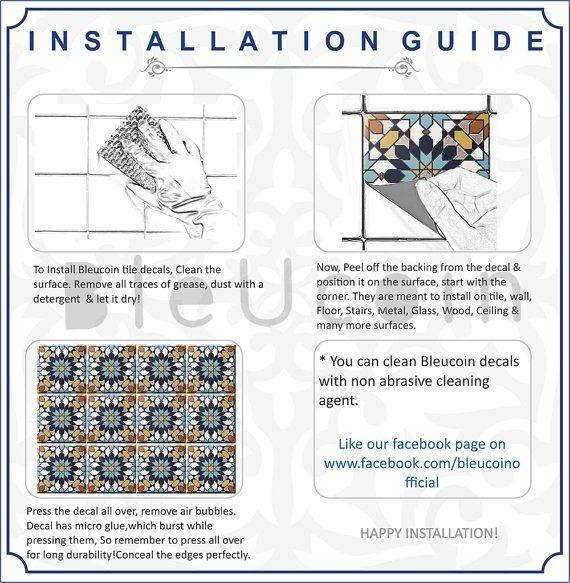 Kitchen/Bathroom Backsplash Tile/ Wall/ Stair/Floor decal, Removable ...