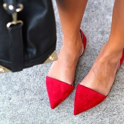 Zara Red Flat Suede Pointed Vamp Shoes with Heel Back 36 37 38 39 40 | eBay