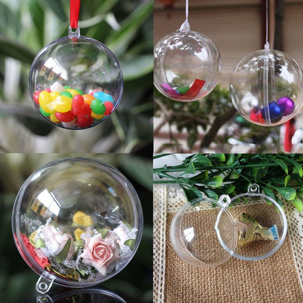 10 Clear Fillable Candy Box Christmas Bauble Xmas Tree Ball Ornament Decor  5CM P