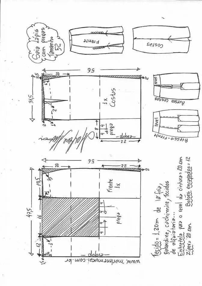 Patrón para hacer una Falda lápiz con pliegues | Apartir de la talla ...