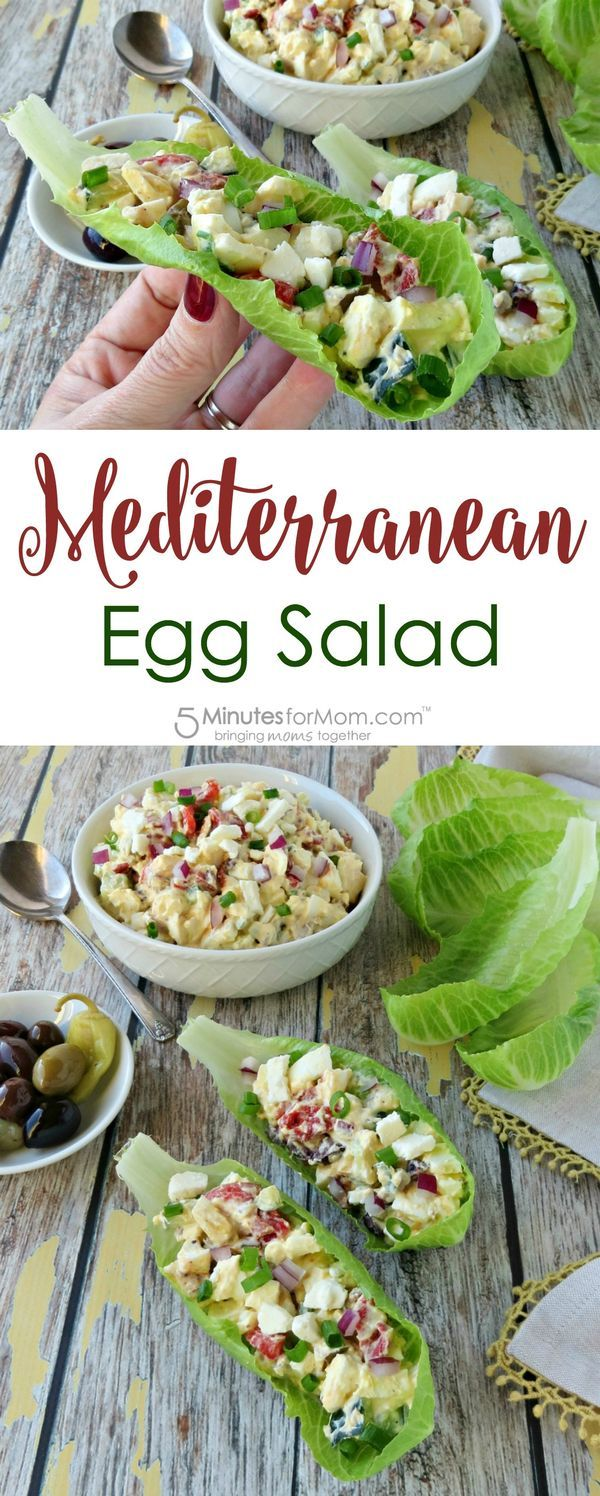 Mediterranean Egg Salad in Lettuce Wraps Recipe - A healthier version of egg salad served in lettuce cups. It is fresh, light, and gluten-free. #mediterraneanrecipes