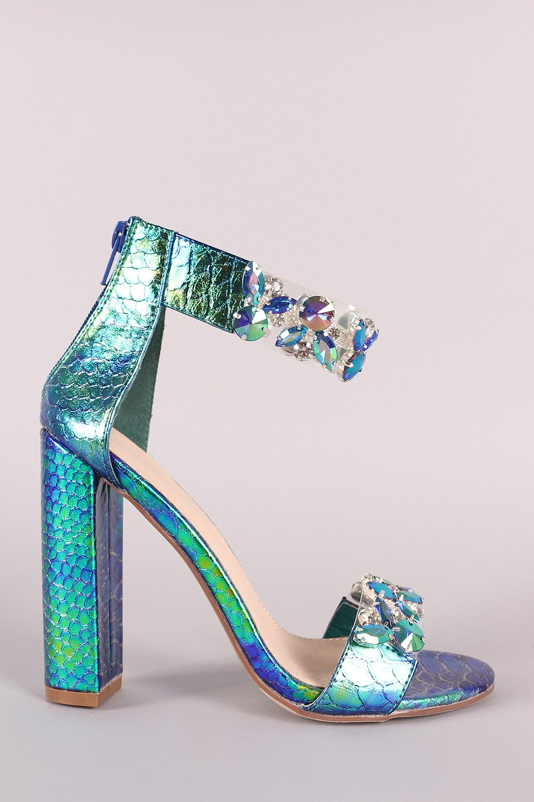 915c084f53 Holographic Snake Jeweled Clear Open Toe Chunky Heel   Shoe ...